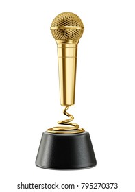 golden microphone award. 3d illustration isolated on a white