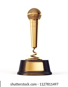 golden microphone award isolated on a white. 3d illustration