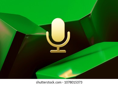 Golden Microphone Icon Around Green Glossy Boxes. 3D Illustration of Fine Golden Mic, Microphone, Old Microphone, Radio Mic Icons on the Green Abstract Background.