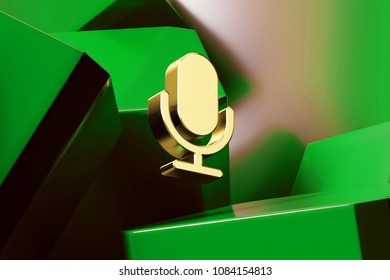 Golden Microphone Icon With the Green Glossy Boxes. 3D Illustration of Fine Golden Mic, Microphone, Old Microphone, Radio Mic Icon Set on the Green Geometric Background.
