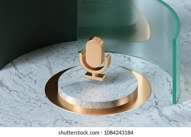 Golden Microphone Icon on the Center of White Marble and Green Glass. 3D Illustration of Stylish Golden Mic, Microphone, Old Microphone, Radio Mic Icon Set in the Green Installation.