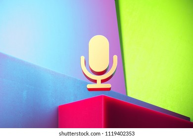Golden Microphone Icon on the Green and Violet Geometric Background. 3D Illustration of Gold Mic, Microphone, Old Microphone, Radio Mic Icon Set With Installation of Color Boxes.