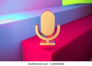 Golden Microphone Icon on the Violet and Grass Green Geometric Background. 3D Illustration of Gold Mic, Microphone, Old Microphone, Radio Mic Icon Set With Installation of Color Boxes.