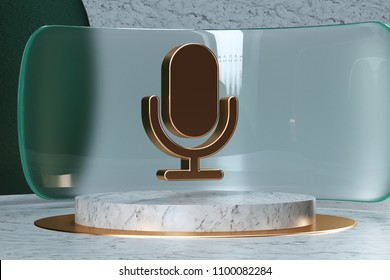 Golden Microphone Icon on White Marble and Green Glass. 3D Illustration of Stylish Golden Mic, Microphone, Old Microphone, Radio Mic Icon Set in the Green Installation.