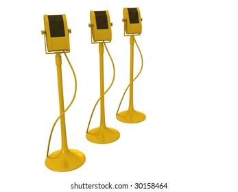 golden microphones. 3D