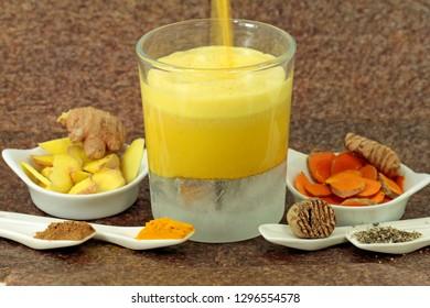 golden milk, ayurvedic drink with soy milk