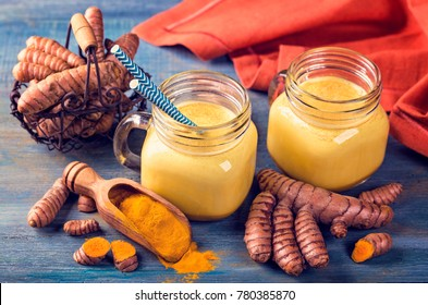 Golden milk, beverage with turmeric and spices