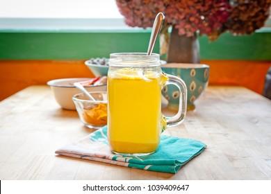 Golden milk. Turmeric herbal medicine, an anti-inflammatory.