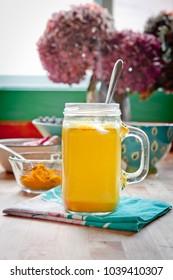 Golden milk. Turmeric herbal medicine, an anti-inflammatory