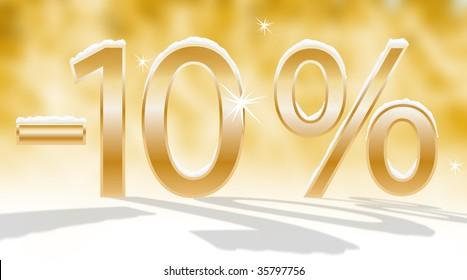 golden minus, golden number, percent symbol, snow on the number, golden background, number ten