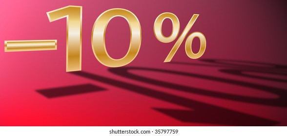 golden minus, golden number, percent symbol, red background, number fifty