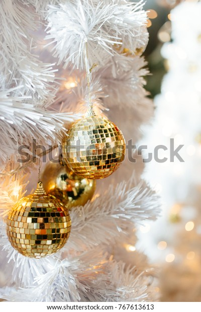 Golden Mirrored Disco Balls Christmas Decorations Stock
