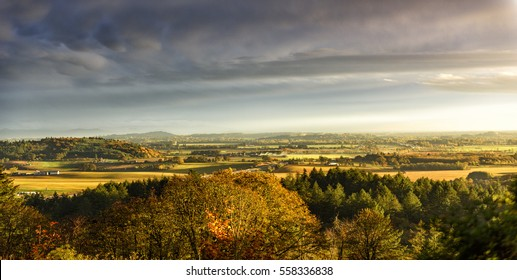 Golden Misty Sunset Over the Mid Willamette Valley, Marion County, Western Oregon