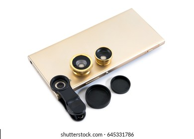 Golden mobile phone with zoom lens,clip and cover isolated on white background.Gold smar tphone with lens isolated