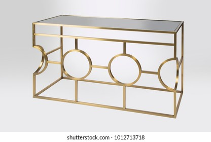 golden modern console table isolated on white background