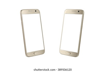 Golden modern smart phone isometric view. White screen for mockup, isolated, two side.