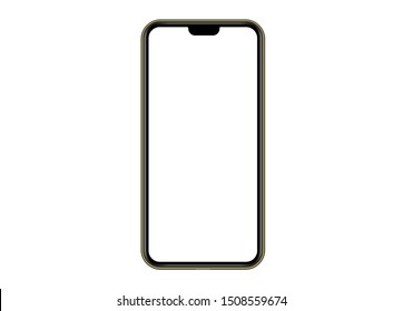 Golden Modern Smartphone.  Mock up mobile  phone with blank white screen. Illustration for app, web, design.