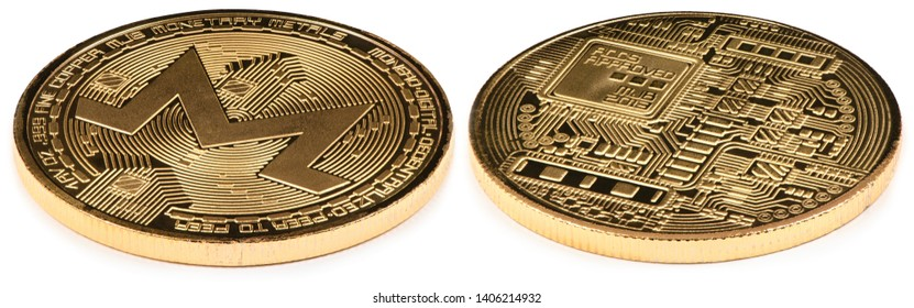 Golden monero isolated on white background. Front and back sides are shown. High resolution photo. With two clipping path. Full depth of field.