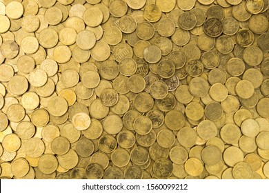 golden money background with 20 and 50 cents euros on a top view