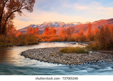 Golden morning at the Provo River, Heber Valley, Utah, USA.