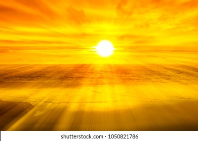 Golden of morning sunrise at the  beach  background