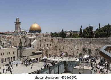 Golden Mosque and the western wall symbols of jerusalem