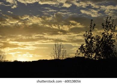 Golden mountain sunset