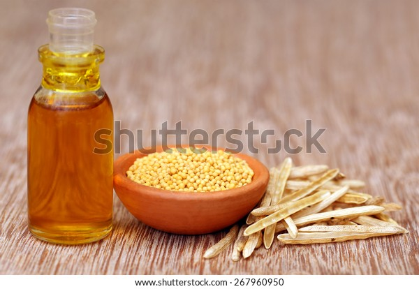 Golden Mustard with empty pods and oil in a bottle on wooden surface