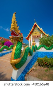 golden naga in thai temple.