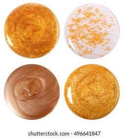 Golden nail polish drop set. Isolated on white