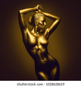 Golden naked feminine woman like statue posing on dark background. Censored version