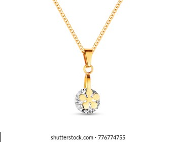 Golden necklace with crystals on white background, rose gold