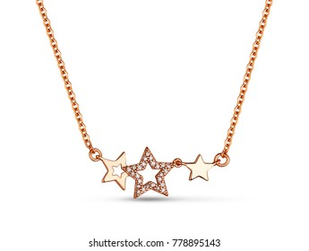 Golden necklace with crystals and stars on white background, rose gold