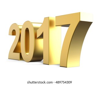 golden new year number 2017, 3D render
