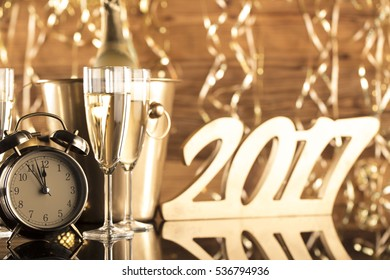 Golden New Years Eve celebration background. Place for typography
