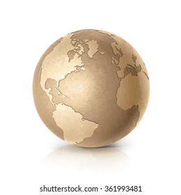 Golden North and South America world map on white background