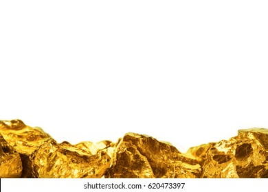 Golden nuggets isolated on white background
