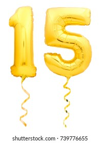 Golden number 15 fifteen made of inflatable balloon with golden ribbon isolated on white background