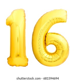 Golden number 16 sixteen made of inflatable balloon isolated on white background. Sweet sixteen birthday concept