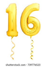 Golden number 16 sixteen made of inflatable balloon with golden ribbon isolated on white background
