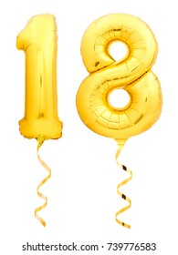 Golden number 18 eighteen made of inflatable balloon with golden ribbon isolated on white background