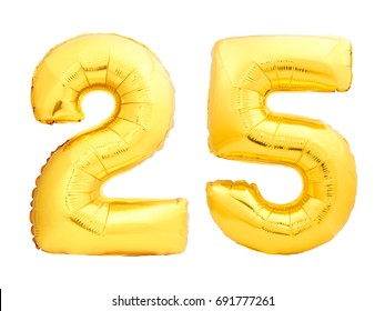 Golden number 25 twenty five made of inflatable balloon isolated on white background