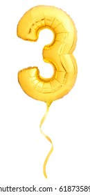 Golden number 3 three made of inflatable balloon with golden ribbon isolated on white background