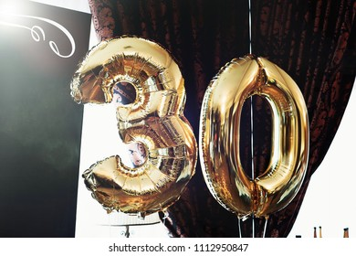 Golden number 30 thirty balloons. Happy Birthday 30 thirty years.