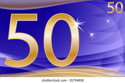 golden number fify on abstract background in blue and gold