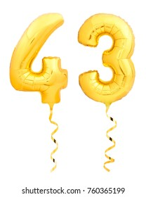 Golden number forty three 43 made of inflatable balloon with golden ribbon isolated on white background