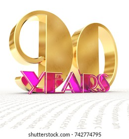 """Golden number ninety (number 90) and the word """"years"""" against the backdrop of the prospect of greeting text. 3D illustration"""