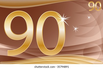 golden number ninty on abstract background in brown and gold