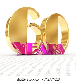 """Golden number sixty (number 60) and the word """"years"""" against the backdrop of the prospect of greeting text. 3D illustration"""