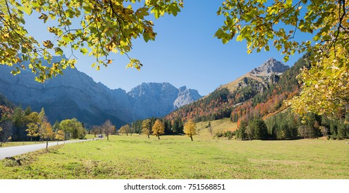 golden october landscape at famous ahornboden valley with view to karwendel mountains, austria